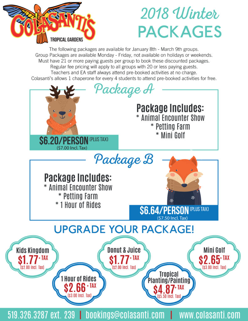 2018 January and February Packages - Colasanti's