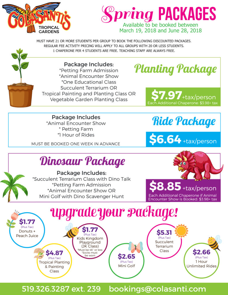 Colasantis 2018 April, May and June Packages