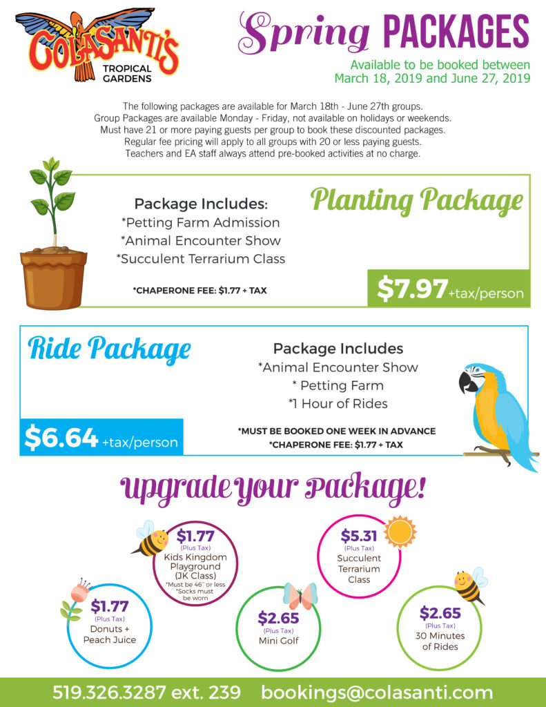Colasantis Spring 2019 School Group Packages