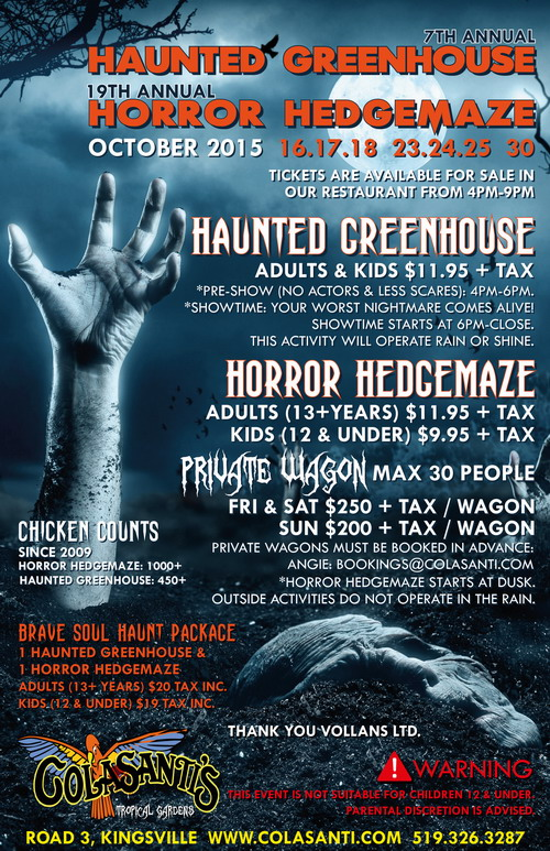 2015 Colasanti's Haunted Greenhouse & Horror Hedgemaze