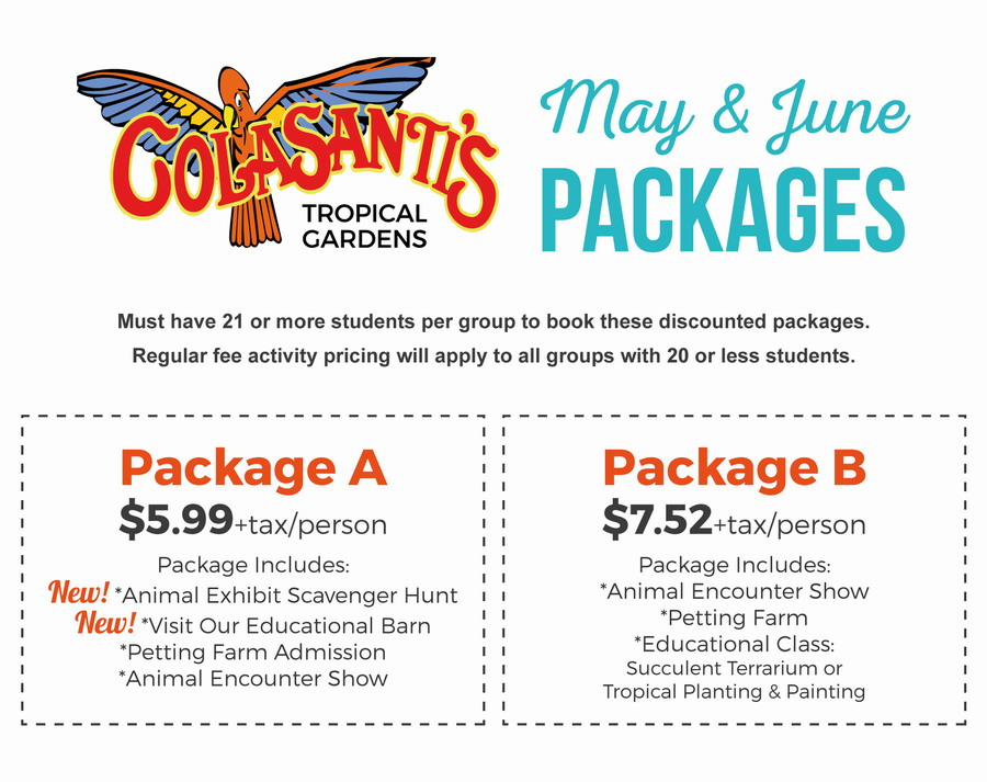 May & June Field Trip Packages Colasanti's Tropical Gardens