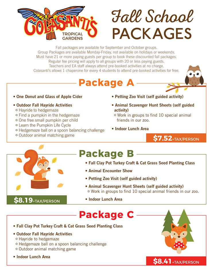 Colasantis Fall packages 2017